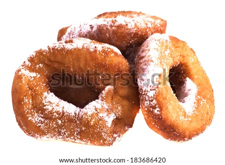 Donuts with powdered sugar on a white background