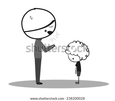 Doodle angry father to son - stock photo