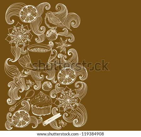 doodle background for tea time and place for text - stock photo