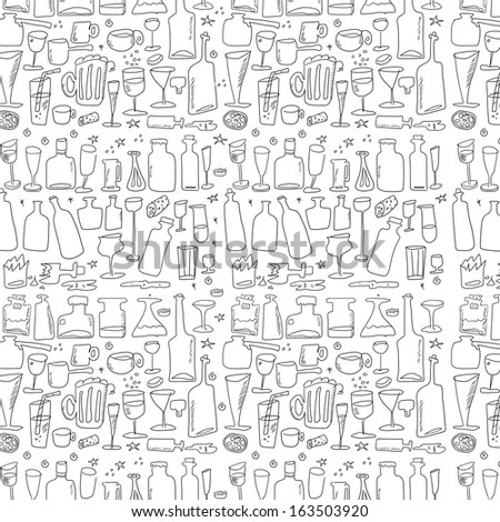doodle bottle and glass, background and texture - stock photo