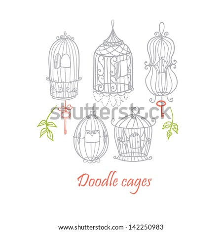 Doodle cages. Raster.