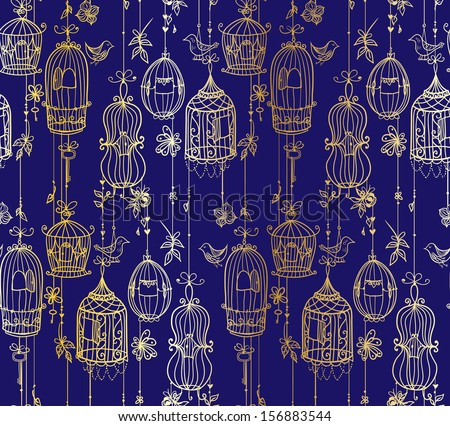 Doodle cages with birds seamless pattern. Raster. - stock photo