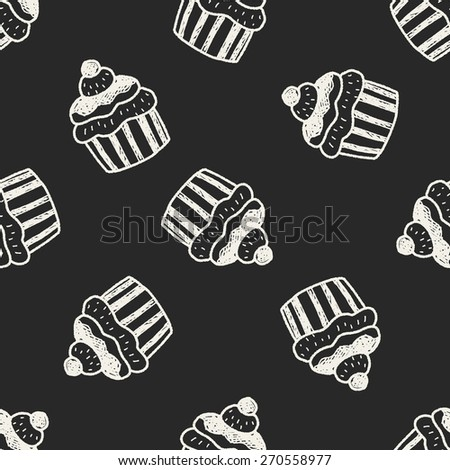 doodle cake seamless pattern background