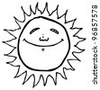 doodle cartoon sun - stock photo