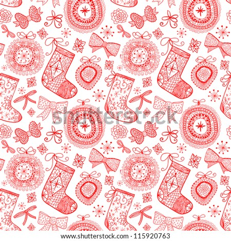 Doodle Christmas seamless pattern. Raster.