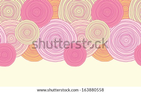 Doodle circle texture horizontal seamless pattern background raster - stock photo
