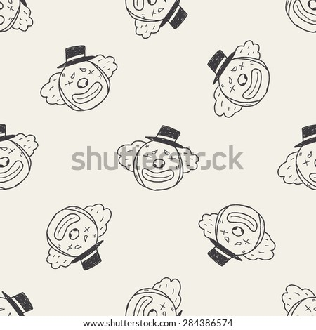 doodle clown seamless pattern background - stock photo