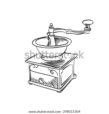doodle coffee mill. Hand drawn illustration.  - stock photo