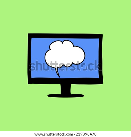 Doodle color sign of chat with computer and speech bubble - stock photo