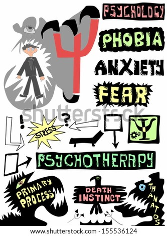 doodle concept psychology, psychotherapy and psychoanalysis - stock photo