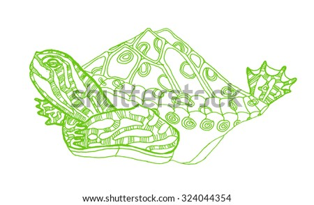 Doodle cute hand drawn turtle .Raster version - stock photo