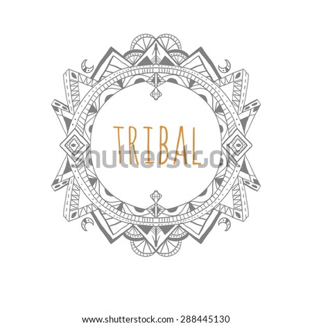 Doodle decorative frame in tribal style. Raster. - stock photo