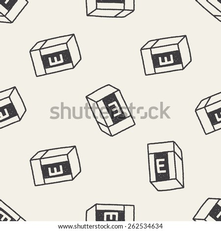doodle eraser seamless pattern background - stock photo