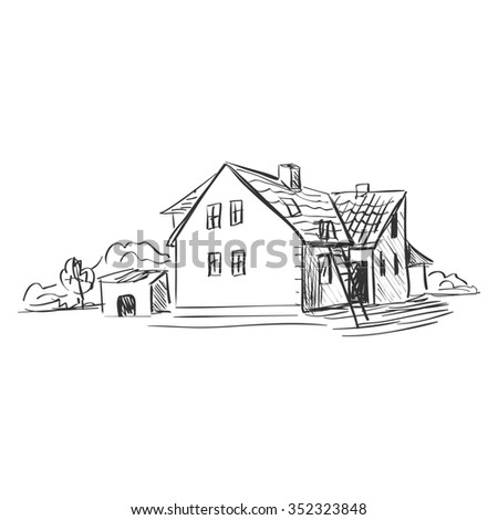 doodle farm. Doodle style. Isolated in white background.
