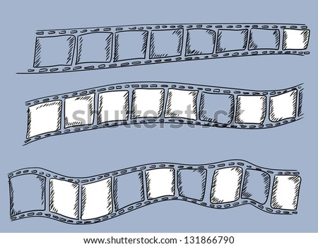 Doodle film strip frame - stock photo