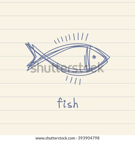 Doodle fish icon. Logo design template. Cute hand drawn childish linear illustration for print, web - stock photo