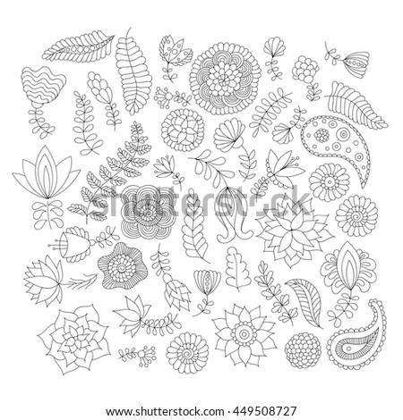 Doodle flower elements black and white isolated, decorative objects for design