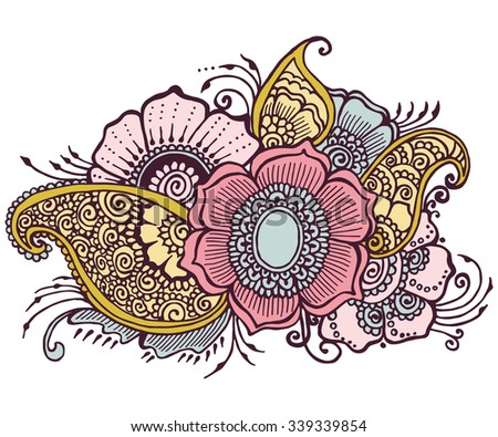 Doodle Flowers Floral - stock photo