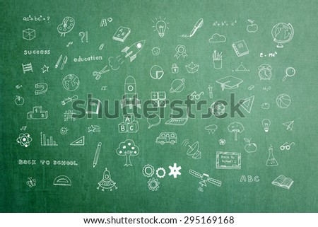 Doodle freehand chalk drawing on green chalkboard of daydreaming mind map: Educational, childhood concept: Children/ students' thought of creative thinking idea about career and education success    - stock photo
