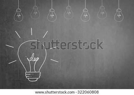 Doodle freehand sketch white chalk drawing of light bulb with idea inside on grunge black chalkboard background: Educational/ business creative thinking idea concept about success and creativity  - stock photo
