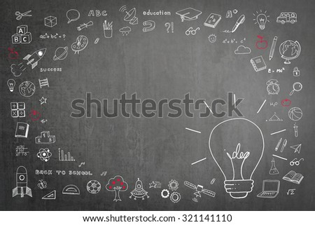 Doodle freehand white chalk drawing on green chalkboard with idea light bulb and blank copy space: Children/ students' thought of creative thinking idea about educational success and creativity  - stock photo