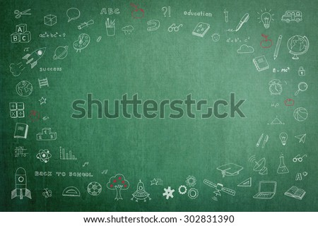 Doodle freehand white chalk drawing on green chalkboard with oval blank copy space for adding texts: Childhood kid concept: Children students' thought of creative thinking idea about education success - stock photo
