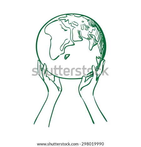 doodle globe in women hands. save earth concept illustration - stock photo