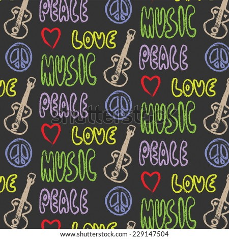 doodle grunge pattern Peace, Love and Music - stock photo