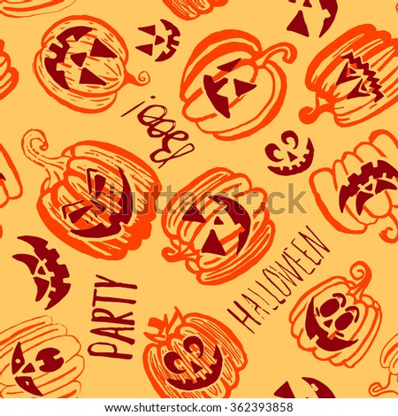 Doodle hand drawn Halloween pumpkin endless pattern. Brown, orange and yellow bright cartoon seamless texture. Can be used for invitation, fabric, paper printing, web background. Raster version - stock photo