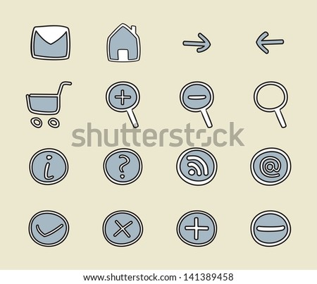 Doodle, hand drawn icon set - arrow, home, rss, search, mail, ask, plus, minus, back, forward. Web tools symbol or sign collection isolated on retro beige background - stock photo