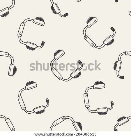 Doodle Headphone seamless pattern background