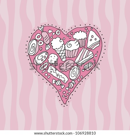 Doodle heart background with cookies and sweets - stock photo