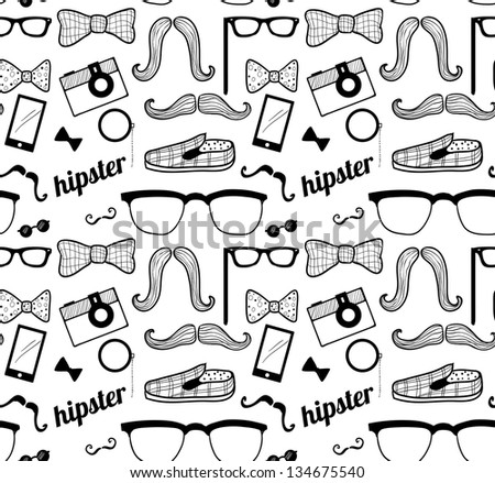 Doodle hipster's seamless pattern. Raster.