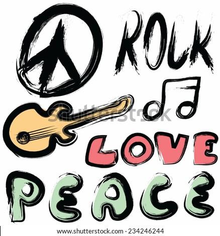 doodle icon grunge peace, love isolated on white - stock photo