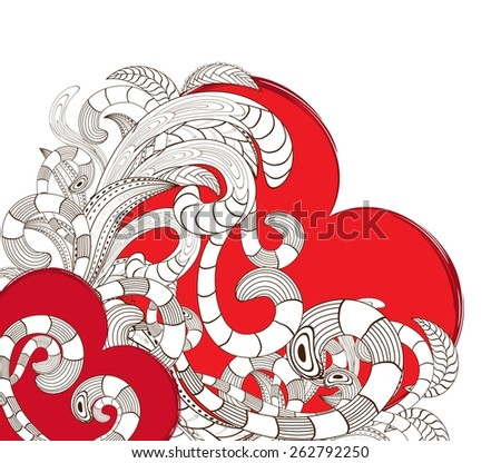 doodle line art heart design - stock photo