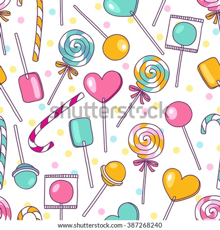 Doodle lollipops pattern. Bright sweet food hand drawn illustration. Cartoon candy background. Great for baby decor - stock photo