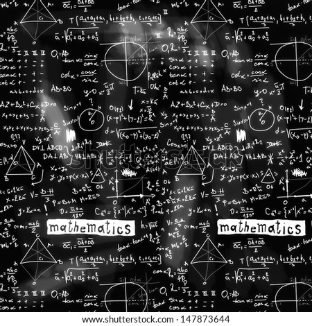 doodle maths blackboard seamless background, texture and pattern - stock photo