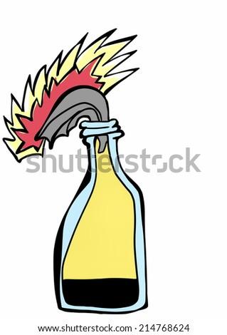 doodle Molotov cocktail  - stock photo