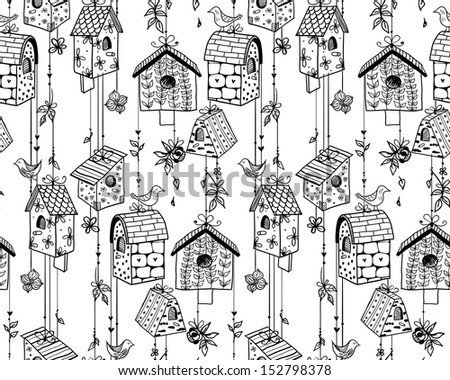 Doodle nesting boxes with birds seamless pattern. Raster. - stock photo