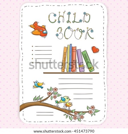 Doodle page for kids and children. Bookshelf and toys. Child magazine.