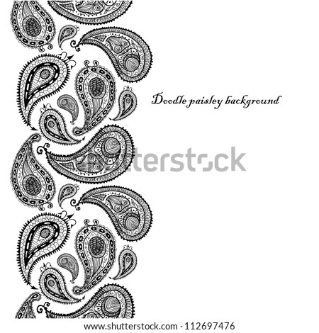 Doodle paisley seamless line background. Raster.