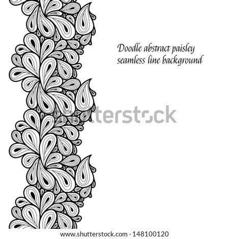 Doodle paisley seamless line background. Raster. - stock photo