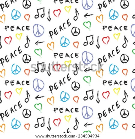 doodle pattern grunge peace, love and music background - stock photo