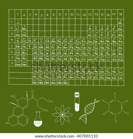 Doodle periodic table chemical elements formulas stock illustration doodle periodic table of chemical elements formulas retort test tube and other chemical urtaz Choice Image