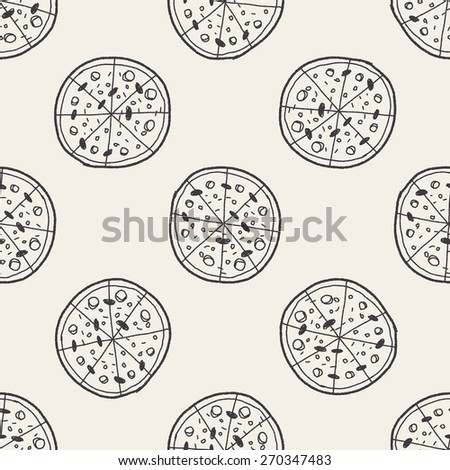 Doodle Pizza seamless pattern background
