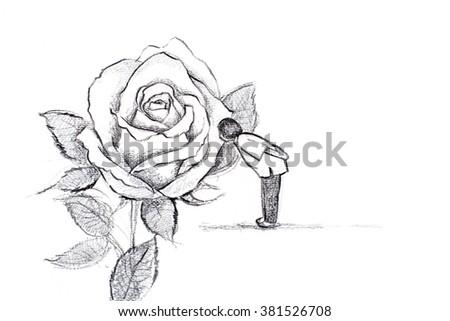 doodle schoolgirl and rose - stock photo