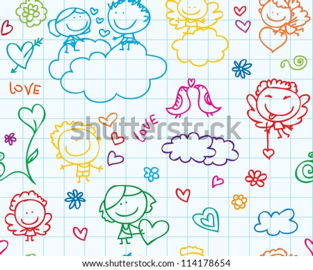 Doodle seamless background of love valentine day children on school paper texture