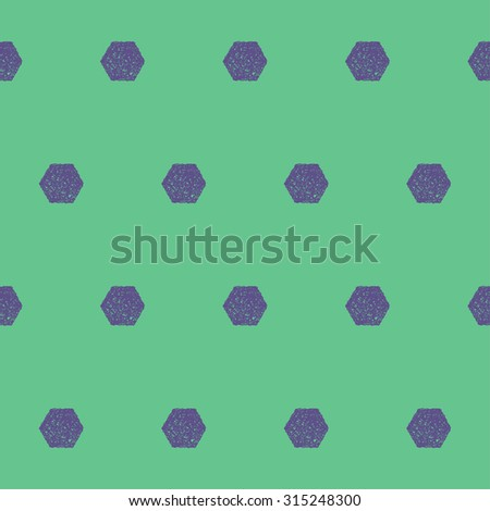 Doodle seamless hexagon pattern background. Hand drawn simple graphic geometric elements isolated on green background for use in design. Raster copy
