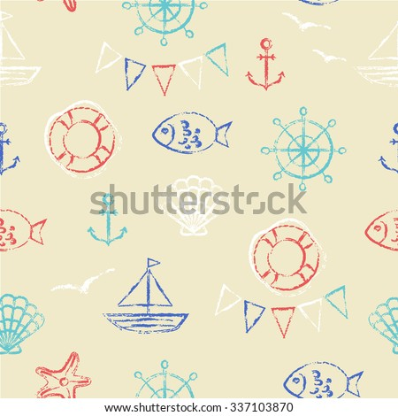 Doodle seamless pattern. Grungy sketch illustration. Nautical sea background. Anchor, fish, boat, shell, gull and starfish in red, blue and white on sandy yellow.