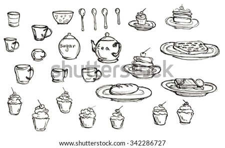 Doodle set hand drawn sketch with dessert, cups, teapot and sugar bowl isolated